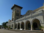 A former train station stands in Merida, Mexico, Thursday, April 11, 2019. A new, government proposed Mayan Train line would circle the Yucatan Peninsula and drop a spur south to near the border with Guatemala, tying in this former station to get people to the new rail line. (AP Photo/Peter Orsi)