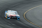 Kyle Busch enters Turn 1 during a NASCAR Cup Series auto race at Pocono Raceway, Sunday, June 2, 2019, in Long Pond, Pa. (AP Photo/Matt Slocum)