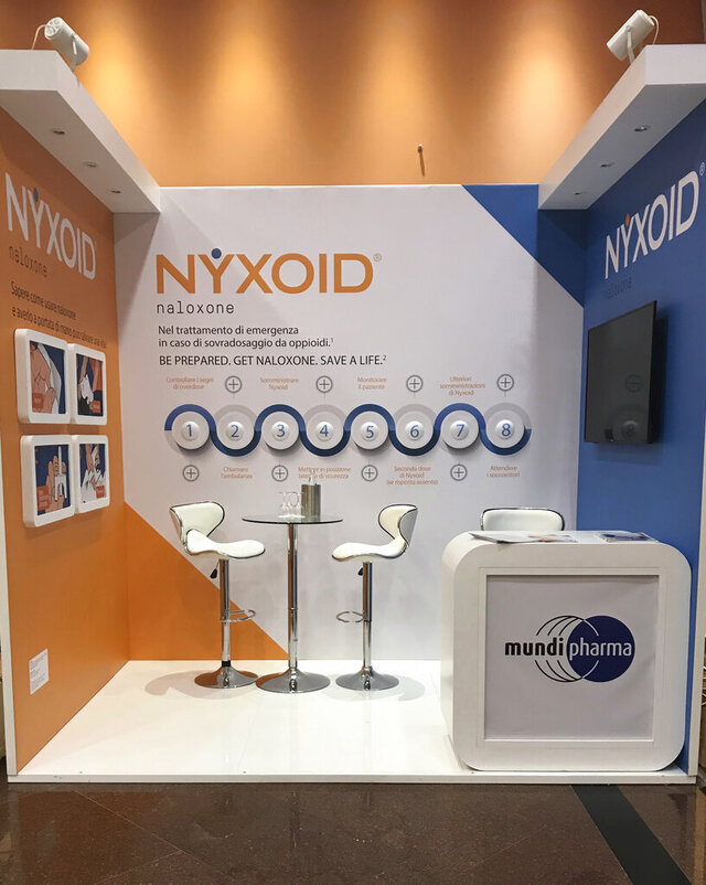 This undated image provided by Dr. Andrew Kolodny shows Purdue Pharma's international affiliate, Mundipharma, promoting Nyxoid, a new brand of opioid overdose reversal medication, at a medical conference in Italy. The photo was taken by Kolodny, a frequent critic of Purdue Pharma who has testified against the company. (Andrew Kolodny via AP)