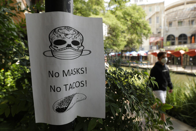 A man wearing a mask to protect against the spread of COVID-19 passes a sign requiring masks at a restaurant, Tuesday, July 7, 2020, in San Antonio. Texas Gov. Greg Abbott has declared masks or face coverings must be worn in public across most of the state as local officials across the state say their hospitals are becoming increasingly stretched and are in danger of becoming overrun as cases of the coronavirus surge. (AP Photo/Eric Gay)