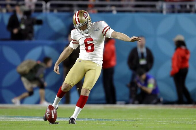 San Francisco 49ers' Mitch Wishnowsky kicks off against the Kansas City Chiefs to begin the NFL Super Bowl 54 football game Sunday, Feb. 2, 2020, in Miami Gardens, Fla. (AP Photo/John Bazemore)