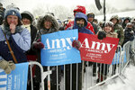 Rally goers attend a rally where Democratic Sen. Amy Klobuchar of Minnesota announced she is entering the race for president Sunday, Feb. 10, 2019, at Boom Island Park in Minneapolis. (AP Photo/Jim Mone)