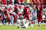Memphis quarterback Brady White (3) looks on from the field after fumbling and losing the ball during the second half of an NCAA college football against Temple, Saturday, Oct. 12, 2019, in Philadelphia. Temple won 30-28. (AP Photo/Chris Szagola)
