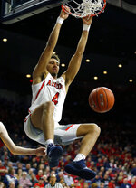 Arizona center Chase Jeter dunks against California during the second half of an NCAA college basketball game Thursday, Feb. 21, 2019, in Tucson, Ariz. Arizona won 76-51. (AP Photo/Rick Scuteri)