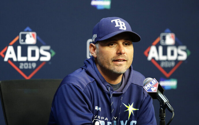 Tampa Bay Rays manager Kevin Cash takes part in a news conference, Thursday, Oct. 3, 2019, in Houston. The Rays will play the Houston Astros in the first game of an American League Division Series on Friday. (AP Photo/Eric Gay)