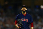 Boston Red Sox pitcher David Price reacts during the third inning of a baseball game against the New York Yankees on Sunday, Aug. 4, 2019, in New York. (AP Photo/Adam Hunger)