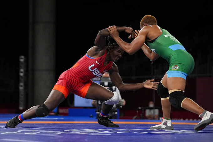 United States Tamyra Marianna Stock Mensah, left, and compete Nigeria's Blessing Oborududu during the women's 68kg Freestyle wrestling bronze medal match at the 2020 Summer Olympics, Tuesday, Aug. 3, 2021, in Chiba, Japan. (AP Photo/Aaron Favila)