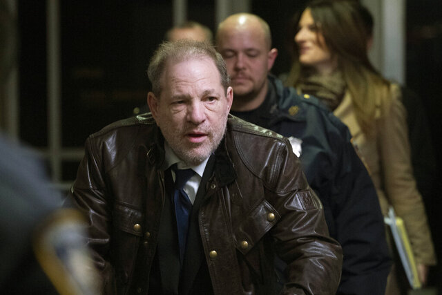 Harvey Weinstein leaves a Manhattan courtroom after attending jury selection for his trial on rape and sexual assault charges, Friday, Jan. 17, 2020, in New York. (AP Photo/Mark Lennihan)