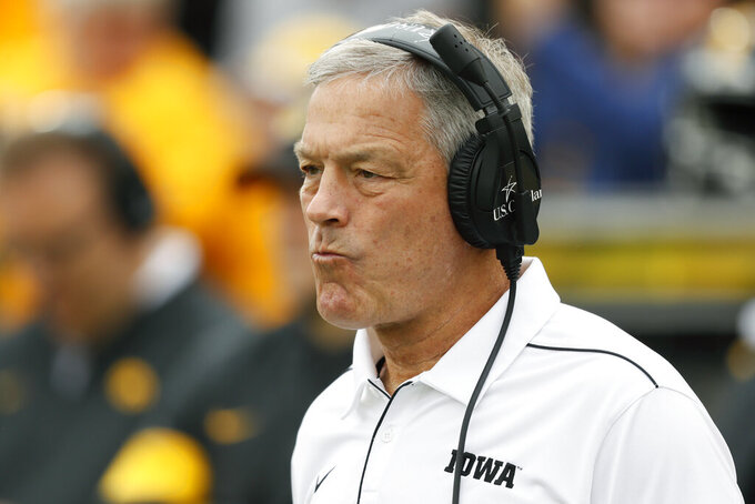 Iowa head coach Kirk Ferentz watches from the sideline during the first half of an NCAA college football game against Middle Tennessee, Saturday, Sept. 28, 2019, in Iowa City, Iowa. (AP Photo/Charlie Neibergall)