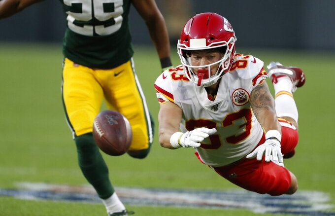 Kansas City Chiefs' Cody Thompson can't catch a pass during the first half of a preseason NFL football game against the Green Bay Packers Thursday, Aug. 29, 2019, in Green Bay, Wis. (AP Photo/Matt Ludtke)