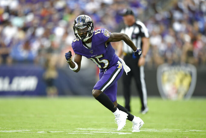 Baltimore Ravens wide receiver Marquise Brown runs a route against the Cleveland Browns during the second half of an NFL football game Sunday, Sept. 29, 2019, in Baltimore. (AP Photo/Gail Burton)