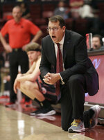 Stanford coach Jerod Haase yells during the first half of the team's NCAA college basketball game against Utah in Stanford, Calif., Thursday, Jan. 24, 2019. (AP Photo/Jeff Chiu)