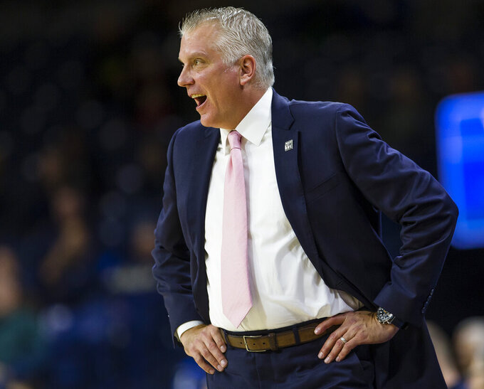 Toledo coach Tod Kowalczyk calls a play during the team's NCAA college basketball game against Notre Dame on Thursday, Nov. 21, 2019, in South Bend, Ind. (Michael Caterina/South Bend Tribune via AP)