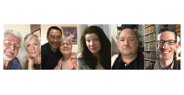 This combination of photos shows selfies of, Clarence Allen Rainwater and Dawn Burton Rainwater, from left, Robert Onishi and Chris Onishi, Kathryn Ray, Quinten Daulton and Eric Little. As the pandemic has changed the world, it has also revealed surprising traits within ourselves, both dormant and newly discovered. (Clarence Allen Rainwater, Dawn Burton Rainwater/Robert Onishi/Kathryn Ray/Quinten Daulton/Eric Little via AP)