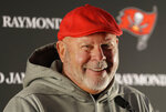 Tampa Bay Buccaneers head coach Bruce Arians smiles during an NFL football press conference at Blackheath Rugby Football Club ground in London, Friday, Oct. 11, 2019. The Buccaneers face the Carolina Panthers in London on Sunday. (AP Photo/Kirsty Wigglesworth)