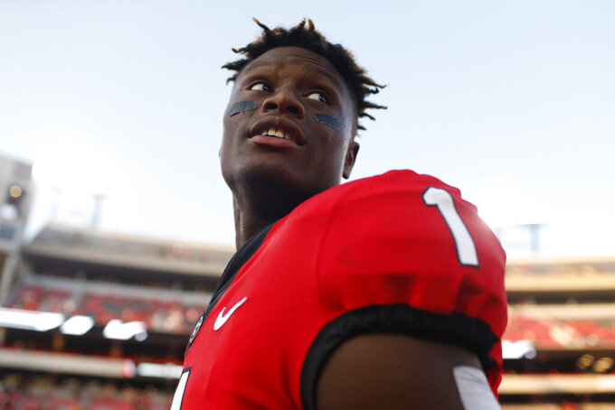 Georgia wide receiver George Pickens (1) walks off the field after an NCAA football game between Georgia and Murray State in Athens, Ga., on Saturday, Sept. 7, 2019. Georgia won 63-17. (Joshua L. Jones/Athens Banner-Herald via AP)