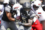 Vanderbilt running back Ke'Shawn Vaughn (5) carries the ball against Northern Illinois in the second half of an NCAA college football game Saturday, Sept. 28, 2019, in Nashville, Tenn. Vanderbilt won 24-18. (AP Photo/Mark Humphrey)