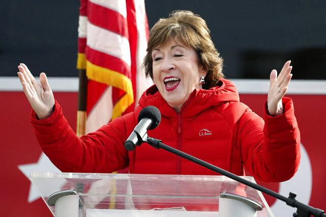 FILE - In this Nov. 4, 2020, file photo, Sen. Susan Collins, R-Maine, speaks in Bangor, Maine. (AP Photo/Robert F. Bukaty, File)