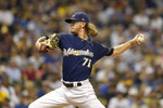 Milwaukee Brewers' Josh Hader pitches during the eighth inning of a baseball game against the Pittsburgh Pirates, Sunday, Sept. 22, 2019, in Milwaukee. (AP Photo/Aaron Gash)
