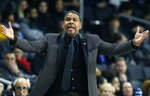 Providence head coach Ed Cooley reacts to a call during the first half of a first round NCAA National Invitation Tournament college basketball game against Arkansas in Providence, R.I., Tuesday, March 19, 2019. (AP Photo/Michael Dwyer)