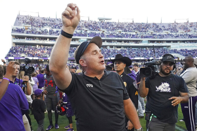 TCU head coach Gary Patterson celebrates after an NCAA college football game against Texas in Fort Worth, Texas, Saturday, Oct. 26, 2019. (AP Photo/Louis DeLuca)