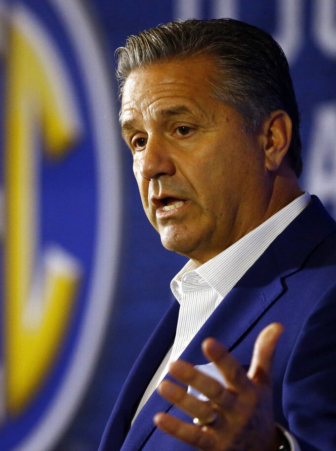 Kentucky coach John Calipari speaks during the SEC men's NCAA college basketball media day, Wednesday, Oct. 17, 2018, in Birmingham, Ala. (AP Photo/Butch Dill)