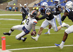 Virginia quarterback Bryce Perkins (3) runs for a touchdown as Duke linebacker Ben Humphreys (34) chases during the first half of an NCAA college football game in Durham, N.C., Saturday, Oct. 20, 2018. (AP Photo/Gerry Broome)