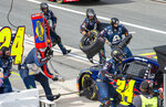 William Byron (24) pits during a NASCAR Cup Series auto race at Dover International Speedway, Saturday, Aug. 22, 2020, in Dover, Del. (AP Photo/Jason Minto)