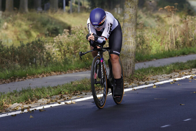 Lisa Klein of Germany competes during the Women Elite individual time trial race at the World Road Cycling Championships in Bruges, Belgium, Monday Sept. 20, 2021. (AP Photo/Olivier Matthys)