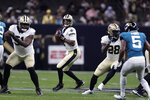 New Orleans Saints quarterback Jameis Winston (2) drops back to pass in the first half of an NFL preseason football game against the Jacksonville Jaguars in New Orleans, Monday, Aug. 23, 2021. (AP Photo/Brett Duke)