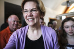 Sen. Elizabeth Warren D-Mass., arrives at the home of Ann Garland in Lebanon, N.H. Saturday, April 13, 2019: (AP Photo/ Cheryl Senter)