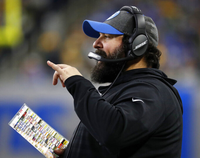 FILE - In this Dec. 29, 2019, file photo, Detroit Lions head coach Matt Patricia stands on the sideline during the first half of an NFL football game against the Green Bay Packers in Detroit. The Lions closed 2019 with nine straight setbacks to finish with just three victories in the franchise's worst season in a decade. And if general manager Bob Quinn and Patrica don't at least help the team contend for a spot in the playoffs, they probably won't be back in 2021. (AP Photo/Rick Osentoski, File)