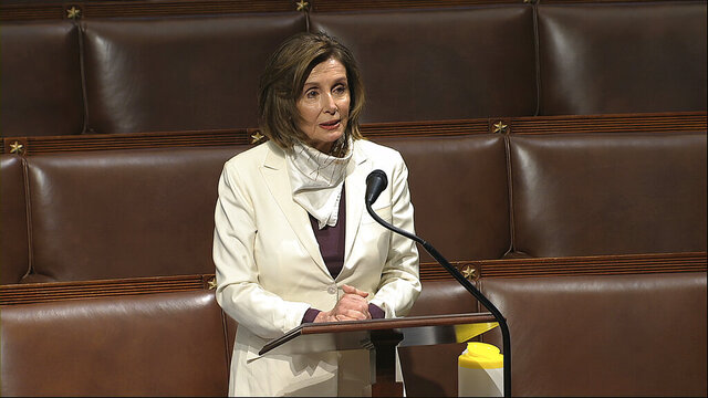 In this image from video, House Speaker Nancy Pelosi of Calif., speaks on the floor of the House of Representatives at the U.S. Capitol in Washington, Thursday, April 23, 2020. (House Television via AP)