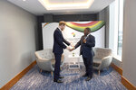 Britain's Prince Harry meets Filipe Nyusi, President of Mozambique, at the UK Africa Investment Summit in London, Monday Jan. 20, 2020. Boris Johnson is hosting 54 African heads of state or government in London. The move comes as the U.K. prepares for post-Brexit dealings with the world. (Stefan Rousseau/Pool via AP)