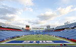 FILE - In this Monday Oct. 29, 2018, file photo, New Era Field is prepared before an NFL football game between the Buffalo Bills and the New England Patriot in Orchard Park, N.Y. The Buffalo Bills' home has a new name: Highmark Stadium, Tuesday, March 30, 2021. The newly rebranded health insurer, Highmark BlueCross, BlueShield of Western New York, has purchased the naming rights for what was simply known as Bills Stadium last season.  (AP Photo/Jeffrey T. Barnes, File)
