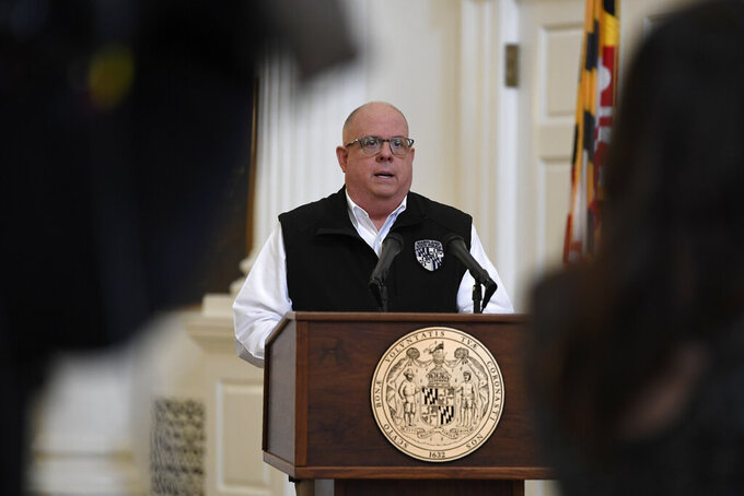 Maryland Gov. Larry Hogan speaks during a news conference in Annapolis, Md., Friday, April 10, 2020. Hogan provided several updates on the state's response to the coronavirus pandemic, including key budget actions and efforts to bolster the process to apply for unemployment. (AP Photo/Susan Walsh)