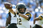FILE - In this Sept. 21, 2019, file photo, Appalachian State's Zac Thomas throws a pass during an NCAA college football game against North Carolina in Chapel Hill, N.C. No. 24 Appalachian State are ranked for the second time ever. They take on Louisiana-Monroe at home on Saturday, Oct. 19.  (AP Photo/Ben McKeown, File)