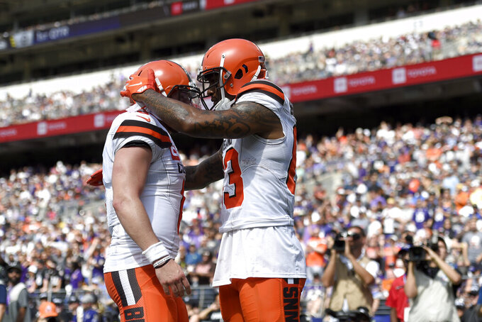 Cleveland Browns tight end Ricky Seals-Jones, right, and Baker Mayfield react after connecting for a touchdown against the Baltimore Ravens during the first half of an NFL football game Sunday, Sept. 29, 2019, in Baltimore. (AP Photo/Gail Burton)