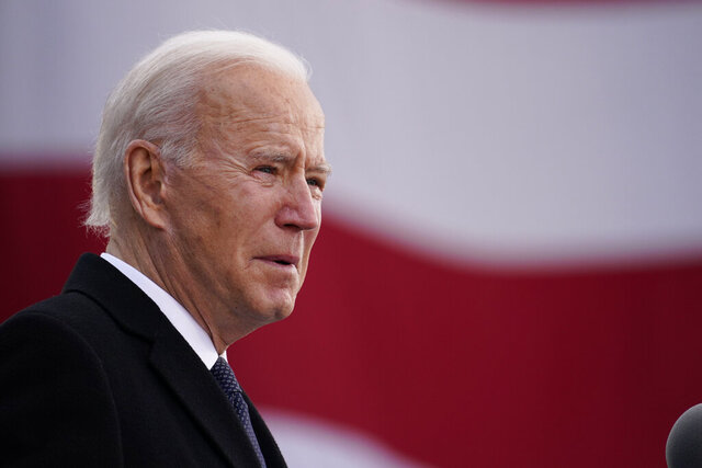 President-elect Joe Biden speaks at the Major Joseph R.