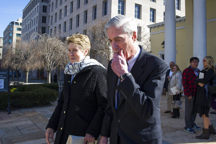 IN this March 24, 2019, photo, Special Counsel Robert Mueller, and his wife Ann, depart St. John's Episcopal Church, across from the White House, in Washington. The release of the special counsel's findings in the Russia probe swiftly reshaped the 2020 presidential campaign, all but settling the question of whether President Donald Trump could be knocked from the race by a new revelation in the report and turning the debate over the investigation on its head. (AP Photo/Cliff Owen)