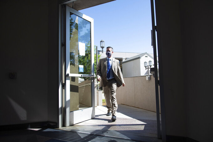 Assemblyman Steve Yeager walks into the Legislature on Wednesday, Aug. 5, 2020, during a special session of the Legislature in Carson City, Nev. (David Calvert/Nevada Independent via AP, Pool)