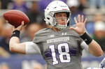 Northwestern's Clayton Thorson makes pass against Duke during the first half of an NCAA college football game Saturday, Sept. 8, 2018, in Evanston, Ill. (AP Photo/Jim Young)