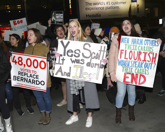 Protesters demonstrate at the Broadway opening night of