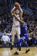 Butler's Paul Jorgensen (5) shoots against Seton Hall's Romaro Gill (35) during the first half of an NCAA college basketball game, Saturday, Feb. 2, 2019, in Indianapolis. (AP Photo/Darron Cummings)