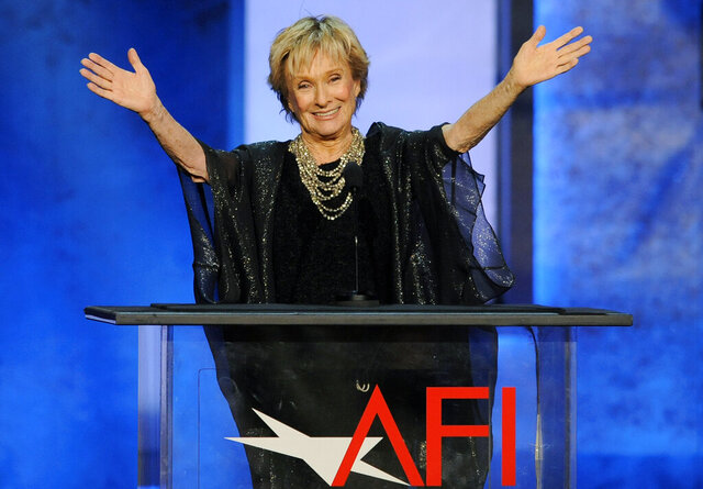 FILE - Actress Cloris Leachman gestures to honoree Mel Brooks in the audience during the American Film Institute's 41st Lifetime Achievement Award Gala on June 6, 2013, in Los Angeles. Leachman, a character actor whose depth of talent brought her an Oscar for the