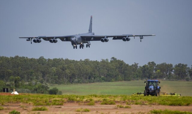 "A U.S. Air Force B-52 Stratofortress bomber, assigned to the 96th Expeditionary Bomb Squadron, deployed from Barksdale Air Force Base, Louisiana, lands during exercise Lightning Focus at Royal Australian Air Force Base (RAAF) in Darwin, Australia, Dec. 6, 2018. The U.S. Air Force flew three B-1 heavy bombers over the East Siberian Sea, north of Russia's far east, as part of recent maneuvers that the military said Friday are meant to demonstration of American capabilities and ability to support allies, but which a Russian commander blasted as ""hostile and provocative."" The flight of the three Texas-based U.S. Air Force Reserve B-1 Lancer bombers on Thursday followed a similar mission a week ago in which three temporarily Britain-based B-52 bombers were flown over Ukrainian airspace, near Russia's western flank. (U.S. Air Force photo by Senior Airman Christopher Quail via AP)"