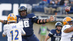 San Jose State quarterback Josh Love (12) throws a pass as Utah State nose tackle Christopher 'Unga (96) defends during an NCAA football game Saturday, Nov. 10, 2018, in Logan, Utah. (Eli Lucero/The Herald Journal via AP)