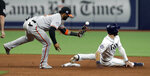 Baltimore Orioles second baseman Jonathan Villar, left, can't hang on to the ball as Tampa Bay Rays' Kevin Kiermaier steals second base during the seventh inning of a baseball game Tuesday, April 16, 2019, in St. Petersburg, Fla. (AP Photo/Chris O'Meara)