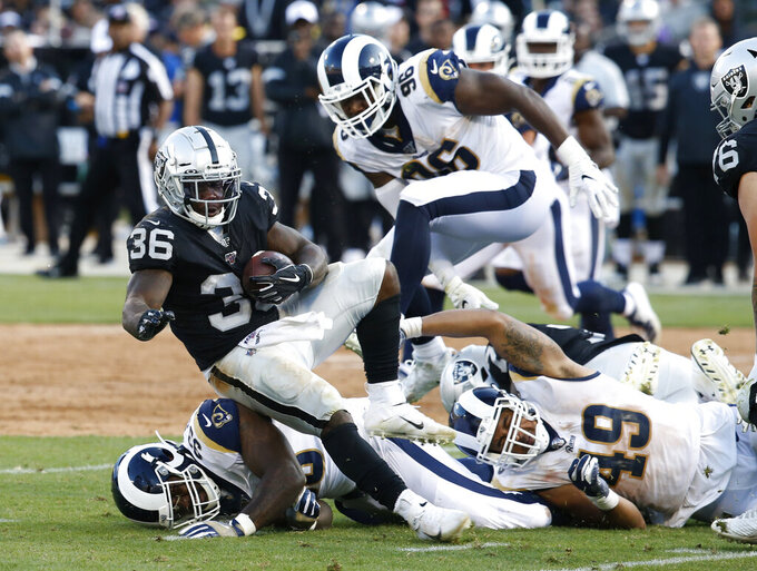 Oakland Raiders' James Butler (36) rushes against the Los Angeles Rams during the second half of a preseason NFL football game Saturday, Aug. 10, 2019, in Oakland, Calif. (AP Photo/Rich Pedroncelli)