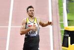 Niklas Kaul, of Germany, wins the men's decathlon 1500 meter race at the World Athletics Championships in Doha, Qatar, Thursday, Oct. 3, 2019. (AP Photo/Martin Meissner)